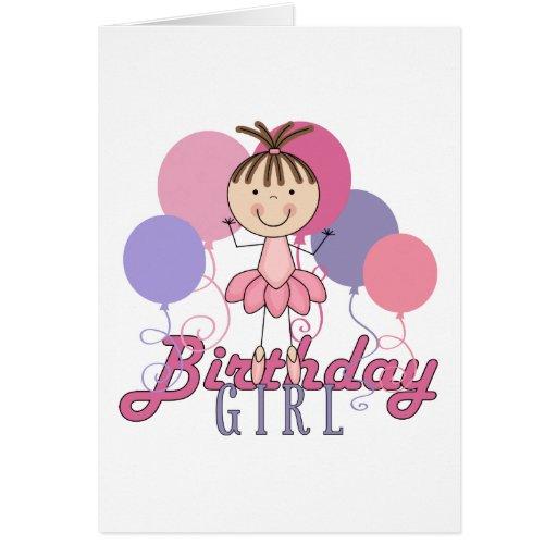 Cumpleaños de la bailarina de los chicas tarjeta de felicitación