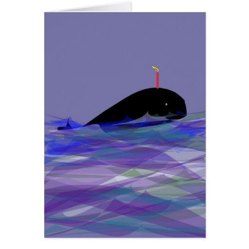Cumpleaños de la ballena tarjeta de felicitación