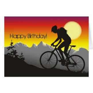 Cumpleaños de la bici de montaña de la silueta tarjeta de felicitación