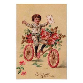 Cumpleaños de la bicicleta de la flor del rosa del impresiones fotográficas