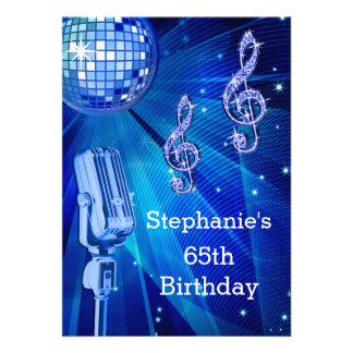 Cumpleaños de la bola de discoteca azul y del invitaciones personalizada
