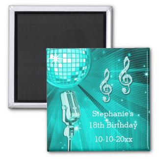 Cumpleaños de la bola de discoteca del trullo y iman de nevera