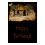 Cumpleaños de la cabina de la montaña tarjeta de felicitación