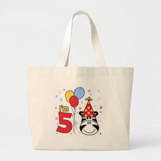 Cumpleaños de la cara de la cebra 5to bolsa de tela grande