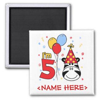 Cumpleaños de la cara de la cebra 5to imán cuadrado