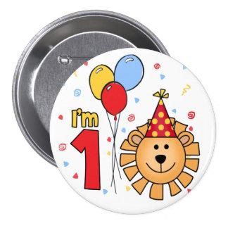 Cumpleaños de la cara del león primer pin redondo de 3 pulgadas