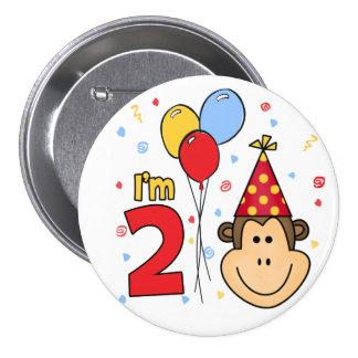 Cumpleaños de la cara del mono 2do pin redondo de 3 pulgadas