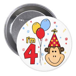 Cumpleaños de la cara del mono 4to pin redondo de 3 pulgadas