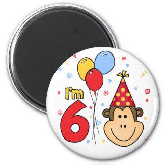 Cumpleaños de la cara del mono 6to imán redondo 5 cm
