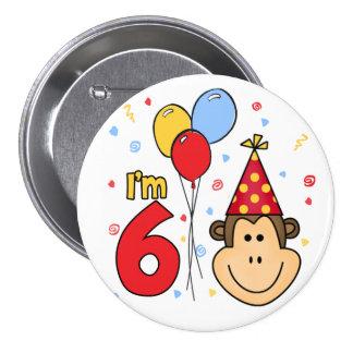 Cumpleaños de la cara del mono 6to pin redondo de 3 pulgadas