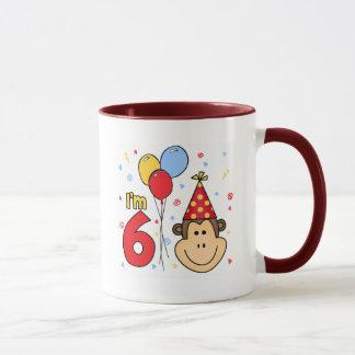 Cumpleaños de la cara del mono 6to taza