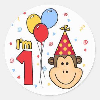 Cumpleaños de la cara del mono primer pegatinas redondas