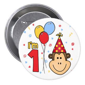 Cumpleaños de la cara del mono primer pin redondo de 3 pulgadas