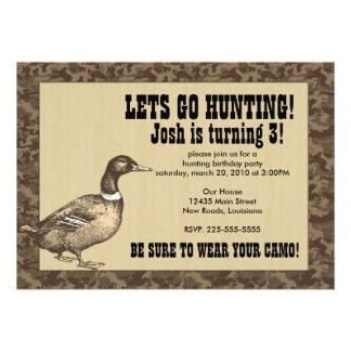 Cumpleaños de la caza del pato invitaciones personales