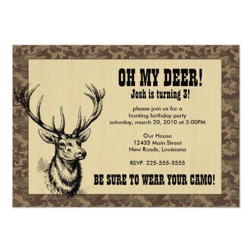 Cumpleaños de la caza invitación 12,7 x 17,8 cm