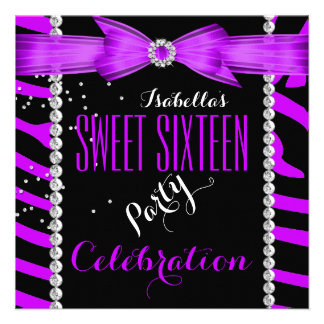 Cumpleaños de la cebra de la púrpura del dulce die invitación
