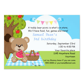 Cumpleaños de la comida campestre de los muchachos invitación 12,7 x 17,8 cm