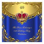 Cumpleaños de la corona del azul real del príncipe invitacion personalizada