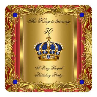 """Cumpleaños de la corona del azul real del príncipe invitación 5.25"""" x 5.25"""""""