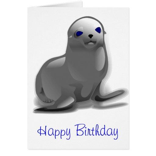 Cumpleaños de la cría de foca tarjeta de felicitación