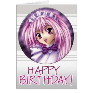 Cumpleaños de la criada del chica de Manga Tarjeta De Felicitación