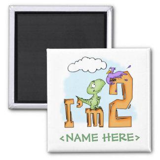 Cumpleaños de la diversión de Dino 2do Imán Cuadrado