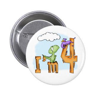 Cumpleaños de la diversión de Dino 4to Pin Redondo De 2 Pulgadas