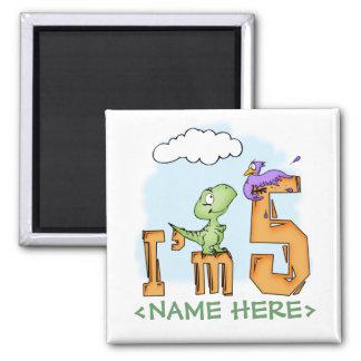 Cumpleaños de la diversión de Dino 5to Imán Cuadrado