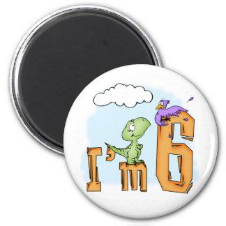 Cumpleaños de la diversión de Dino 6to Imán Redondo 5 Cm