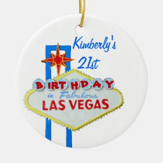 Cumpleaños de la edad 21 de Las Vegas Ornamento De Navidad