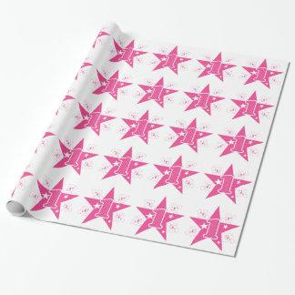Cumpleaños de la estrella del rosa de los chicas papel de regalo