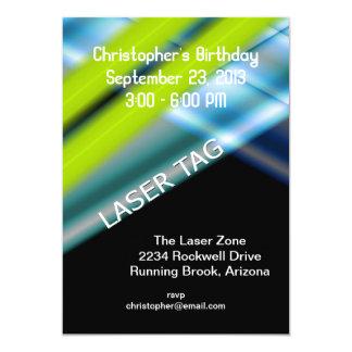 """Cumpleaños de la etiqueta del laser invitación 5"""" x 7"""""""