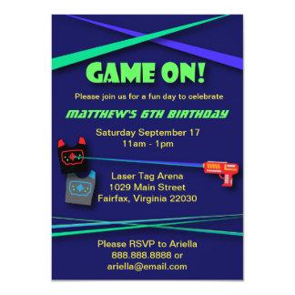 """Cumpleaños de la etiqueta del laser o fiesta de la invitación 4.5"""" x 6.25"""""""