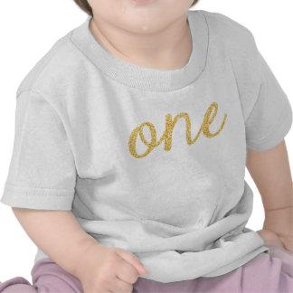 Cumpleaños de la falsa escritura del brillo del camisetas