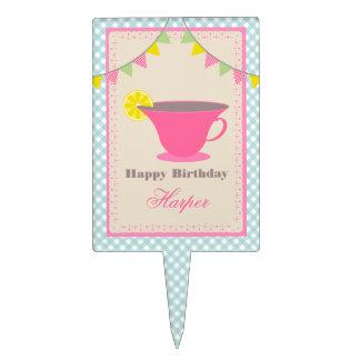 Cumpleaños de la fiesta del té - guinga azul decoración para tarta