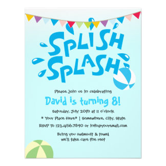 Cumpleaños de la fiesta en la piscina del chapoteo invitaciones personales