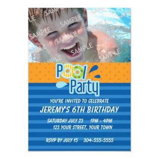 """Cumpleaños de la fiesta en la piscina invitación 5"""" x 7"""""""