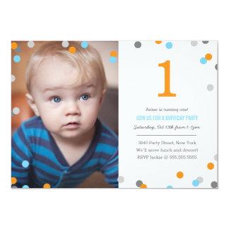 """Cumpleaños de la foto del confeti invitación 5"""" x 7"""""""