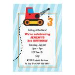 Cumpleaños de la grúa de construcción 3ro invitacion personalizada