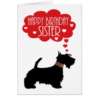 Cumpleaños de la hermana con el escocés Terrier de Tarjeta De Felicitación