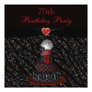 """Cumpleaños de la impresión del brillo de la cebra invitación 5.25"""" x 5.25"""""""