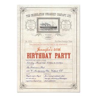 Cumpleaños de la invitación del boleto del barco invitación 12,7 x 17,8 cm