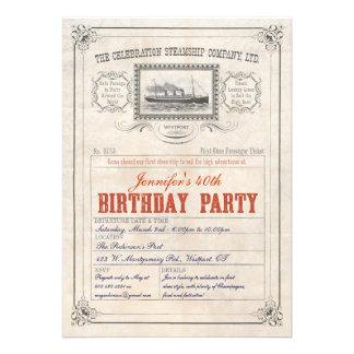 Cumpleaños de la invitación del boleto del barco d
