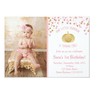 Cumpleaños de la invitación del rosa y de la