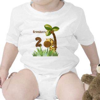 Cumpleaños de la jirafa de los bebés del cumpleaño traje de bebé