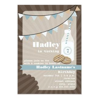 Cumpleaños de la leche y de las galletas - dulce invitación 12,7 x 17,8 cm