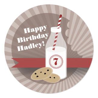 """Cumpleaños de la leche y de las galletas - invitación 5.25"""" x 5.25"""""""