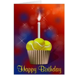 cumpleaños de la magdalena del tenis feliz tarjeta de felicitación