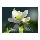 Cumpleaños de la magnolia del tenis feliz tarjeta de felicitación