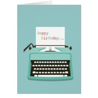 Cumpleaños de la máquina de escribir felicitaciones